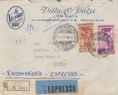"""450 - STORIA POSTALE - BUSTA """"VICTORY AMERICAN DDT"""" - DUE VALORI DA 30 E 100 Lire RACCOMANDATA-ESPRESSO-AMG-FTT-TRIESTE - 6. 1946-.. Republic"""