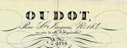 1838 MODE PARISIENNE OUDOT  Paris MOUSSELINES DENTELLES LINGE Etc. Rue ST JACQUES Facture => Mme Levasseur Grand Forma - 1800 – 1899
