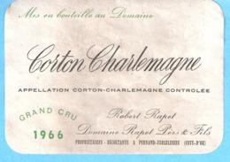 Etiquette-Vin De Bourgogne-Corton Charlemagne-Grand Cru 1966-Robert Rapet à Pernand-Vergelesses (Côte D'Or) - Bourgogne