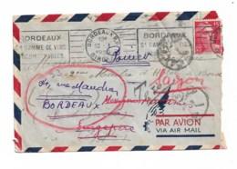 Enveloppe 1950 De Bordeaux à Port Said (Egypte Taxes)  Déviée Vers Singapore (cachet) Puis Vers Saigon - Marcophilie (Lettres)
