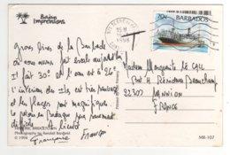 """Beau Timbre  """" Bateau    """" Sur Cp , Carte , Postcard Du 16/01/1998 - Barbados (1966-...)"""