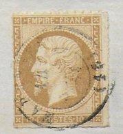 1861  - 10c EMPIRE RARE PIQUAGE PRIVE Sur LETTRE INCOMPLETE De MARENNES (CHARENTE INFERIEURE - OLERON) - 1853-1860 Napoléon III