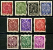 Guyane (1947) Taxe N 22 à 31 * (charniere) - Neufs
