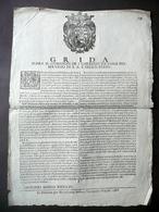 Grida Comando Dei Carreggi Ducato Disposizioni Sanzioni Soliani Modena 1668 - Vecchi Documenti