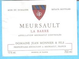 """Etiquette-Vin De Bourgogne-Meursault-Clos De """"La Barre""""-Jean Monnier & Fils à Meursault  (Côte D'Or) - Bourgogne"""