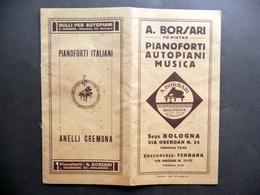 Pieghevole Catalogo A. Borsari Pianoforti Autopiani Musica Bologna Via Oberdan - Vecchi Documenti