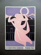Cartoncino Celebrazioni Verdiane Verdi Parma 1951 Pubblicità Grafica A Colori - Vecchi Documenti