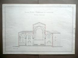 Nuova Chiesa Parrocchiale Di Levizzano Sezione Trasversale Progetto Disegno '900 - Vecchi Documenti