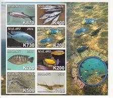 2016 Malawi Endemic Fish Poisson   Miniature Sheet Of 8 MNH - Malawi (1964-...)