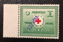 Pakistan 1961 Hs Decimals Surcharges 12paisa On 2anna Red Cross Croix Rough Cruz Roja MNH - Red Cross