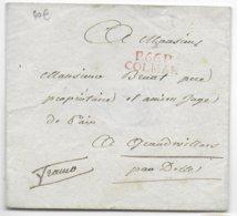 1817/20 - HAUT-RHIN - ENVELOPPE De COLMAR MARQUE LINEAIRE PORT PAYE ROUGE 25X8.5 - IND 16 => GRANDVILLARS Par DELLE - Marcophilie (Lettres)