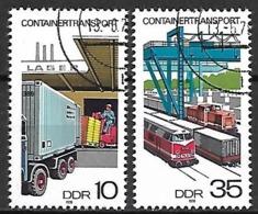 ALLEMAGNE  /  DDR    -    1978  .  Y&T 1995 & 1997 Oblitérés.  Transport Par Containers.  Camion / Trains. - [6] Repubblica Democratica
