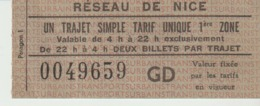 RÉSEAU DE NICE - UN TRAJET SIMPLE TARIF UNIQUE 1ère ZONE - TRANSPORTS URBAINS - TICKET DE BUS - VALABLE DE 4 H A 22 H EX - Tickets - Vouchers
