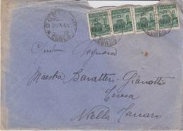"""457 -STORIA POSTALE-BUSTA """"REPUBBLICA SOCIALE ITALIANA"""" - DOGLIANI PER NIELLA TANARO - 4 VALORI DA Cent.25 - 1900-44 Vittorio Emanuele III"""