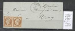 France -Lettre - Yvert 13A En Paire- PC 1352 -FUANS - Doubs -1859 - Marcophilie (Lettres)