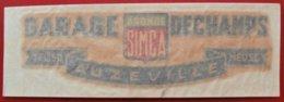 """55 AUZEVILLE """" GARAGE DECHAMPS """" ARONDE SIMCA Autocollant Publicitaire - Stickers"""