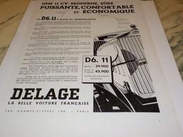 ANCIENNE PUBLICITE PUISSANTE CONFORTABLE DELAGE 1933 - Cars