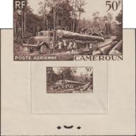 Cameroun 1955 Y&T PA 46. Épreuve De Présentation. Exploitation Forestière. Camion Chargé D'un Long Tronc D'arbre - Trucks