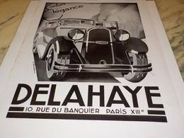 ANCIENNE PUBLICITE CONFORT ELEGANCE DELAHAYE 1933 - Cars