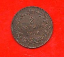 2 Centesimi 1898 Umberto I° Regno D'Italia 2 Cent Savoia Italy - 1878-1900 : Umberto I.
