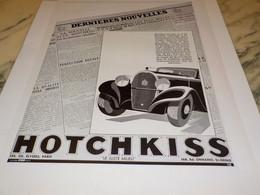 ANCIENNE PUBLICITE DERNIERES NOUVELLES  HOTCHKISS  1933 - Cars