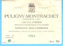 Etiquette-Vin De Bourgogne-Puligny-Montrachet-1r Cru 1994-Les Folatières-Domaine Des Lambrays à Morey-St-Denis-Côte D'Or - Bourgogne