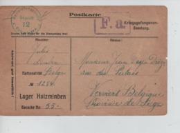 PR7447/ CP PDG-POW- Camp De Holzminden 1918 Censure Du Camp > Verviers - WW I
