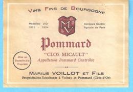 """Etiquette-Vin De Bourgogne-Pommard """"Clos Micauld""""-Marius Voillot Et Fils à Volnay Et Pommard-(Côte D'Or) - Bourgogne"""