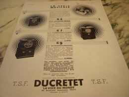 ANCIENNE PUBLICITE SERIE MUSICAL DUCRETET 1934 - Music & Instruments