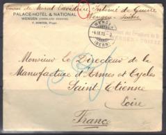 Internement Des Prisonniers De Guerre à Wengen (Suisse) Sur Enveloppe Palace Hôtel, 1915. - Marcophilie (Lettres)