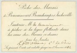 Pêche Des Marais De Bouvaincourt Beauchamps Et Incheville . Autorisation Signée Philippe D'Orléans Comte De Paris 1881 . - Anuncios