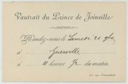 Chasse à Courre . Vautrait Du Prince De Joinville . Rendez-vous Du 21 Novembre 1885 . Invitation Dans Enveloppe . - Anuncios