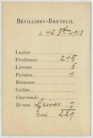Chasse De Bévilliers-Breteuil Tableau De Tir 1913 . Comte De Mortemart . Ch. De Caraman . Baron Napoléon Gourgaud . - Anuncios