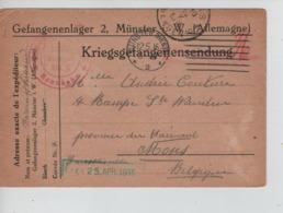 PR7450/ CP PDG-POW-KFS Munster 1916 > Mons C.d'arrivée Censure Geprüft - WW I