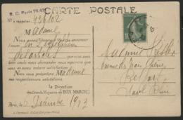 """ROULETTE A PLAT DU N° 159a 10ct Vert Type I A Semeuse Camée Sur CP De Paris, Obl. """"PARIS 6/12/13"""" - Coil Stamps"""
