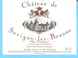 """Etiquette-Vin De Bourgogne-Château De Savigny-les-Beaune """"Les Vergelesses""""-Michel Pont à Savigny-les Beaune (Côte D'Or) - Bourgogne"""