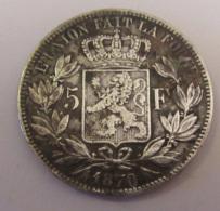 Belgique - Monnaie 5 Francs Léopold II 1870 En Argent - 09. 5 Francs