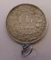 Suisse - Curiosité - Monnaie 1 Franc 1960 En Argent Montée En Pendentif - Schweiz