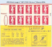 FRANCE - Carnet Numéro 932XX-1 - 2f50 Briat Rouge - YT 2720 C1b / Maury 495b - Usage Courant