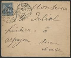 """1890 SEINE ET OISE / C-à-d FACTEUR BOITIER """"ST VRAIN 21/6/90"""" - Marcophilie (Lettres)"""