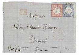 1873 - ALSACE ALLEMANDE - HAUT-RHIN - DEVANT De LETTRE De SENNHEIM (CERNAY) => EPINAL (VOSGES) - Postmark Collection (Covers)
