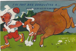 SAINT GERVAIS SUR MARE   CARTE A SYSTEME TRES RARE  ANNEE 1956 - France