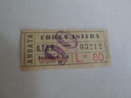 ATAN ( Napoli) Biglietto Da Lire 80 CORSA INTERA - Tram