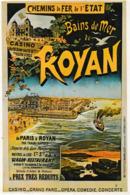 Chemins De Fer De L'Etat. Bains De Mer De ROYAN (17). Casino, Plage, Crépuscule, Bateau (Repro D'affiche) - Royan