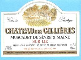 Etiquette-Vin De Sèvre Et Maine-Château Des Gillières-Muscadet Sur Lie-L.Nogue à La Haye-Fouassière (Nantes) - White Wines