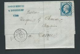 Yvert N°14  Sur Lac Obli.  Petits  Chiffres 1393  Cad  Gien  , Sept. 1861 RAA3415 - Poststempel (Briefe)