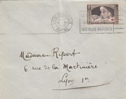 LETTRE. 19 12 40. LYON POUR LYON. N° 460 AU PROFIT DES BLESSES SEUL SUR LETTRE - Frankreich