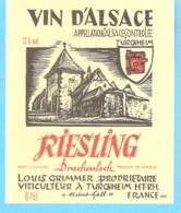 Etiquette-Vin D'Alsace-Riesling-Drachenloch-Louis Grimmer à Turckheim - Riesling