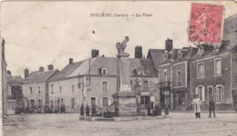 72. PRECIGNE. CPA . LA PLACE. ANNEE 1930 + TEXTE - Other Municipalities