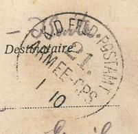 Marque D'armée Sur Carte Postale , 1918 ,K.D. FELD POSTAMT ,21 ARMEE-CPS, Belgique , MONS ,entrée Du Château - Postmark Collection